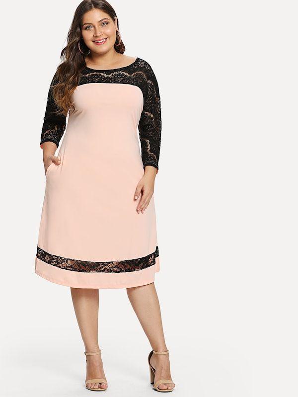 comprar genuino elegir oficial tienda Vestido con abertura panel con encaje de talla grande ...