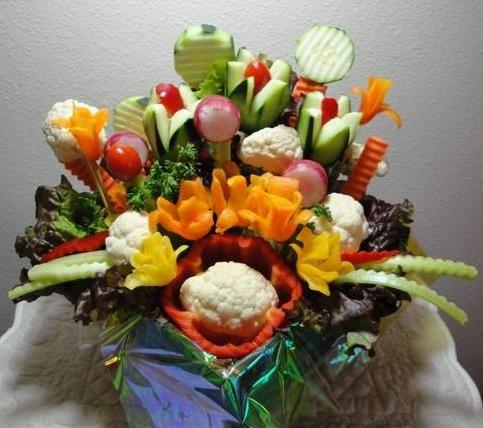 Beautiful Veggie Party Basket Edible Arrangement