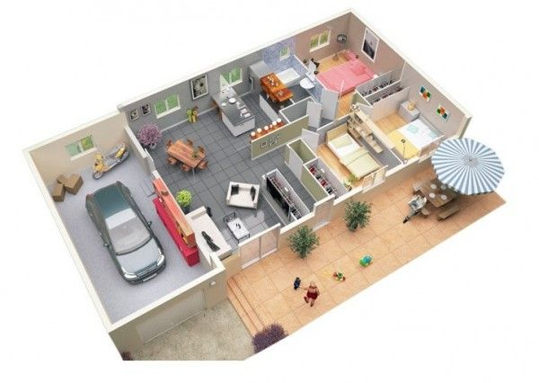 Nice 3 Bedroom Apartment/House Plans | Bedroom Designs | Pinterest | Garage  Floor Plans, Bedroom Apartment And Bedrooms Part 27