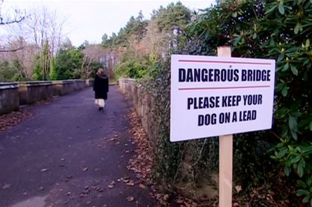 Mystery as 600 dogs jump from 'haunted suicide bridge' leaving at least 50 dead - Danger: The sign warns dog owners about the 50ft bridge