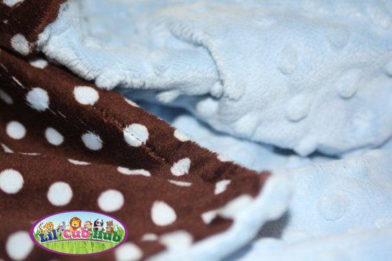 Adult Minky Blanket Personalized Throw Blanket  Blue & Brown