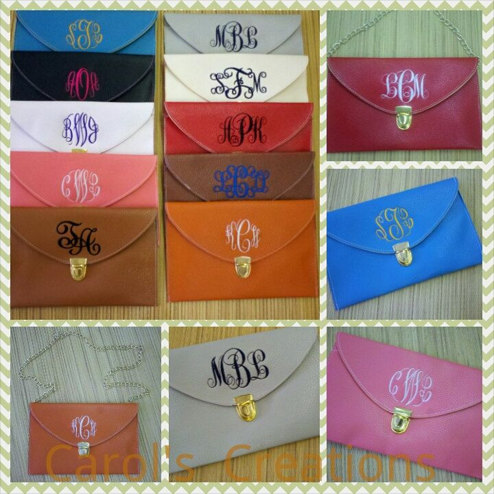 Monogrammed Clutch Crossbody Purse by CarolsCreationsLA on Etsy