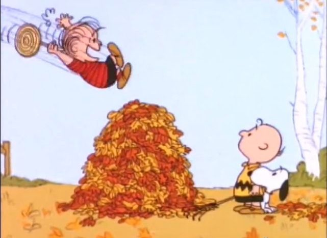 Love this scene when the leaves stick to Linus' sucker!  L O L ~ Linus, Charlie Brown and Snoopy