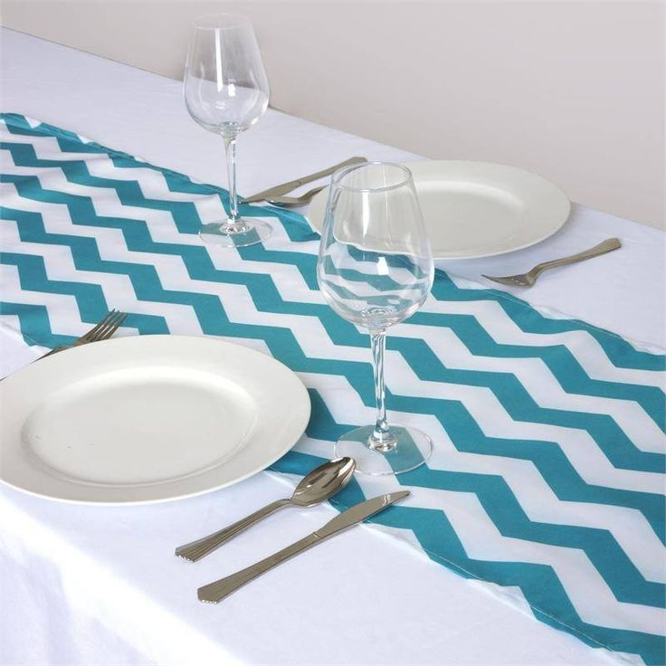 Jazzed Up Chevron Table Runners Turquoise | The appealing chevron design mimics the vivaciousness of dancing waves that always continue flowing with the current. This trendy zig-zag design is truly pleasing to eyes and a mesmeric attraction to cheerful guests who will be snapping classy selfies with your chevron accented tablescape. Besides waves, the continuous motion of this zig-zag design represents all positive things like musical beats, shifting moods, heartbeat, in fact everything that…