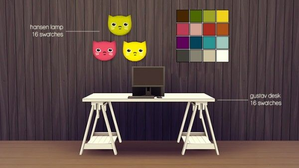 Femme Jean: Set : desk and a cute wall lamp • Sims 4 ...