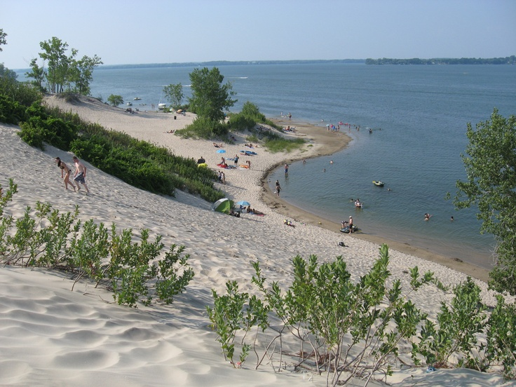 beautiful white sand beaches at Sandbanks Provincial Park. It's one of the few places in Ontario that has natural, pure white sand beaches. And, they are mainly uncrwoded. Belleville, Ontario