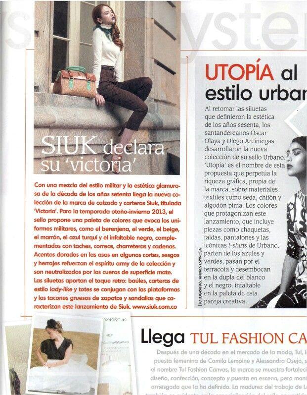 """Siuk en revista INFASHION, edición julio de 2013.  Nota: Siuk declara su """"VICTORIA"""" Colección otoño - invierno 2013"""