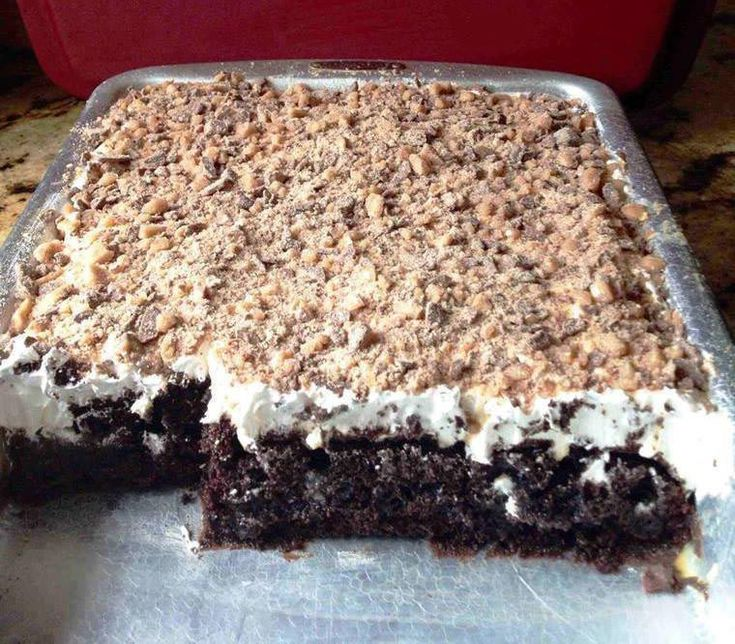 You'll Need: 1 box of dark chocolate fudge cake. 1 can of sweetened condensed milk. 1 jar of caramel ice cream topping. 1 large tub of coolwhip. 1 (8oz) package of health milk chocolate toffee bits. How to: Bake the chocolate fudge