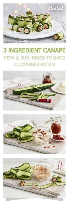 Rustle up some of these delicious feta and sun-dried tomato cucumber rolls as a delicious and super easy canapé | Tesco