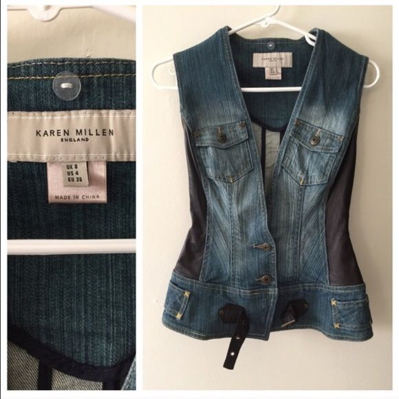 Karen Miller leather and denim vest size 4 Fitted and cool details. Dark chocolate leather and denim. Sz 4 Fits like a 2. Karen Millen Jackets & Coats Vests