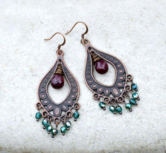 Bohemian Chandelier Earrings, Ruby Gemstone, Teal, Antique Copper,