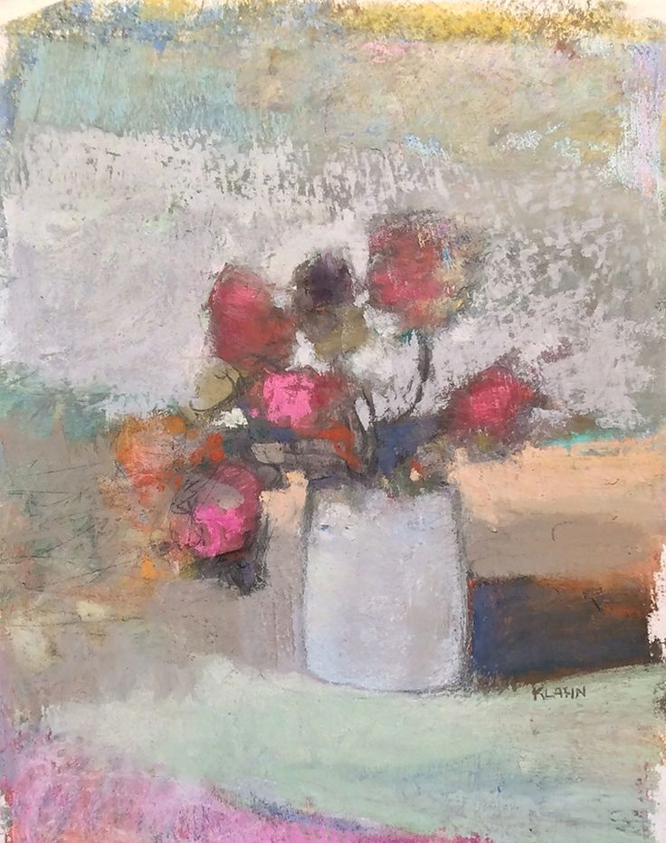 "Mixed Floral. 2014. 8.75"" x 7."" Pastel, Oil & Graphite. Casey Klahn."
