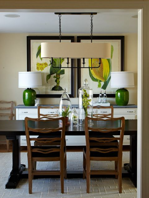Get the look : Beatty Chandelier over a rectangular dining table with large scale botanical prints