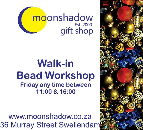 Walk-in Bead Workshops:  Fridays any time between 11:00 and 16:00. Moonshadow's Walk-in Bead Workshops are now on Fridays! Pop in any time between 11:00 and 16:00 and choose what you would like to make.  #Moonshdow #Swellendam #SouthAfrica