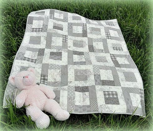 Gray and Cream Baby Quilt by CottonCellar on Etsy