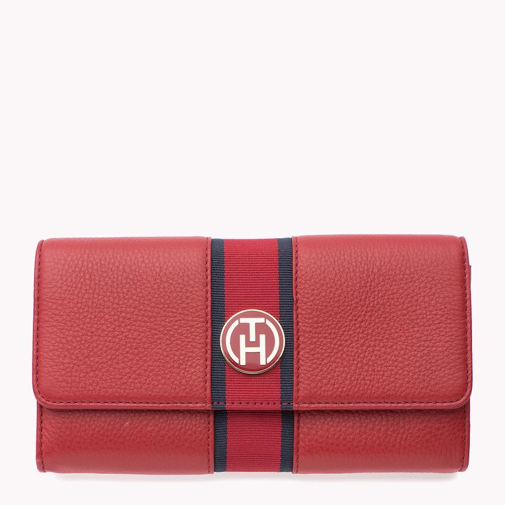 Tommy Hilfiger Bella Wallet. Large leather wallet with grosgrain tape along the centre.