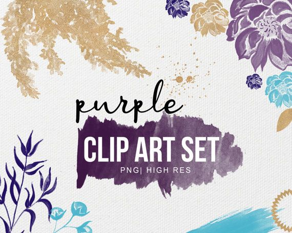 Watercolor Roses & Glitter   Gold Clip Art   Purple Navy and Light Blue   High Res   Graphic Design   Brush Stroke   Digital Flowers   PNG by PeachMintDesigns
