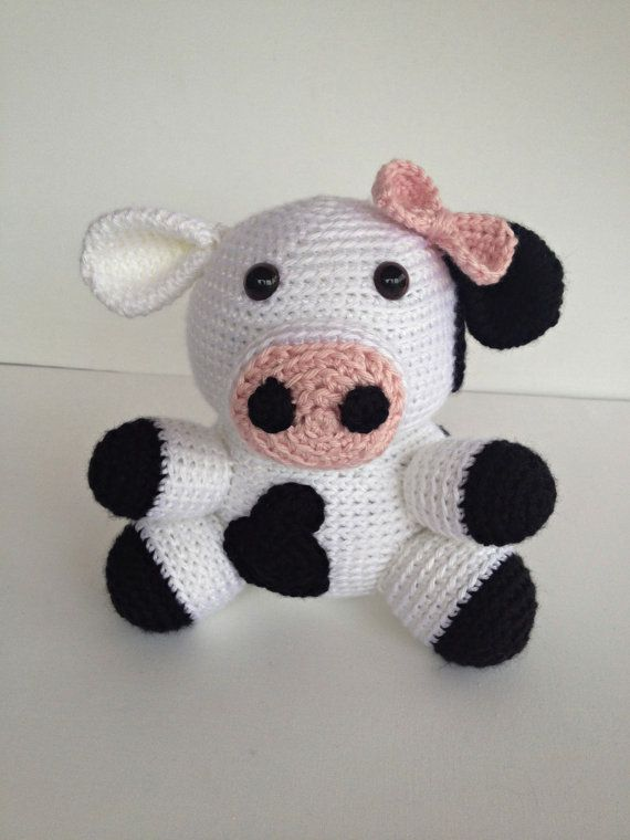 Crochet Girl Cow Amigurumi Stuffed Animal Toy Doll Black and White Pink Bow #handmade #toys #toy #stuffed #stuffedtoys