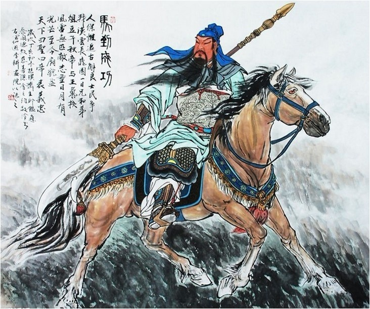 A painting of Guan Yu – the Chinese God of War and Wealth. Guan Yu live during the downfall of the Han Dynasty and became a general in the subsequently emerging Han Shu kingdom. Today Guan Yu is considered a deity and symbol of righteousness.