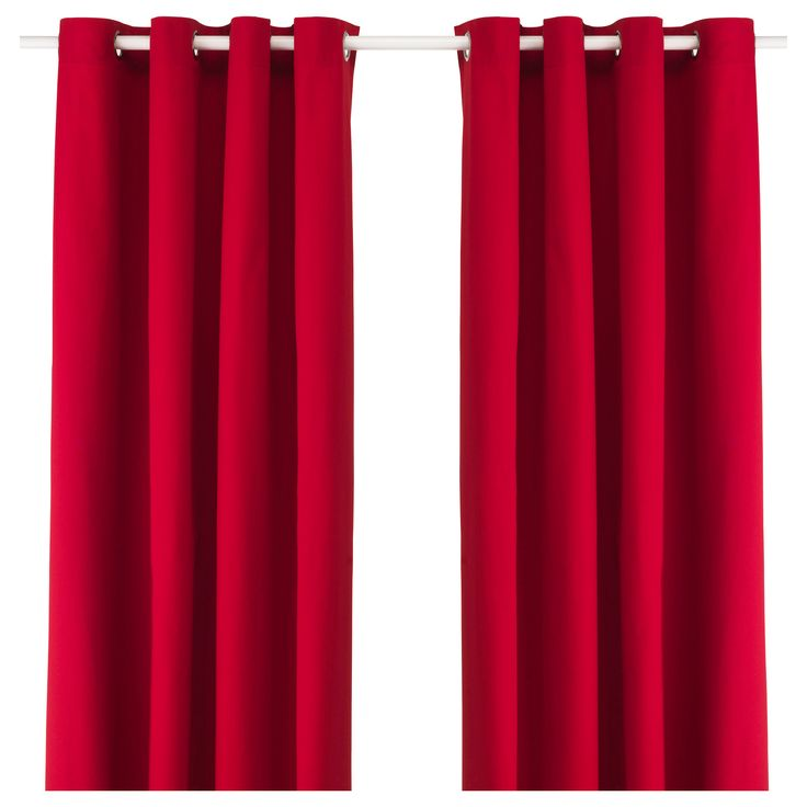 """IKEA - MERETE, Curtains, 1 pair, 57x118 """", , The thick curtains darken the room and provide privacy by preventing people outside from seeing into the room.The eyelet heading allows you to hang the curtains directly on a curtain rod.Effective at keeping out both drafts in the winter and heat in the summer."""