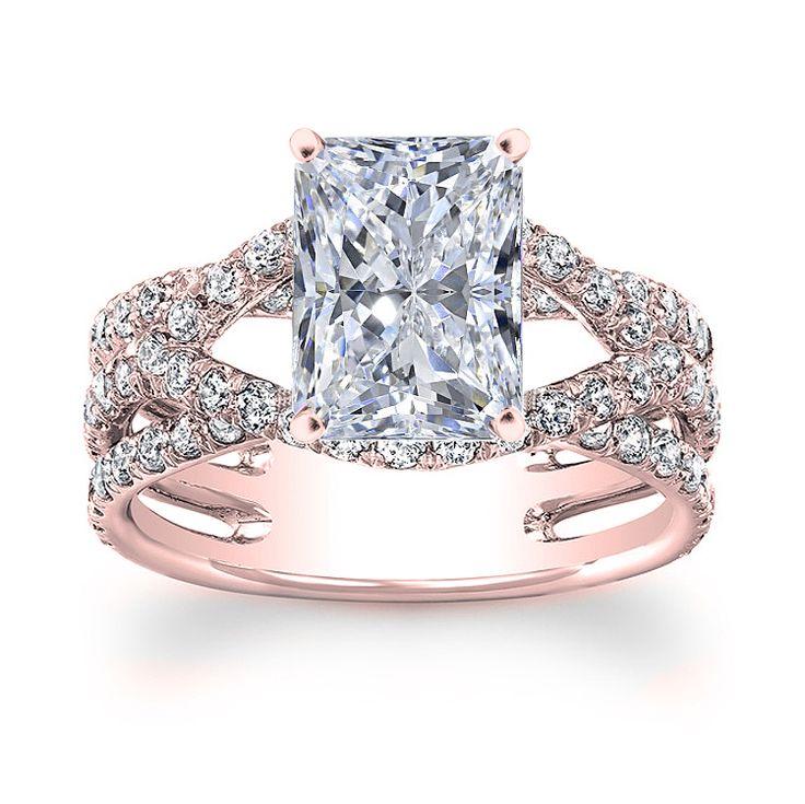 1.50 carat Radiant Cut Diamond Halo Design Engagement Ring 14k Rose Gold
