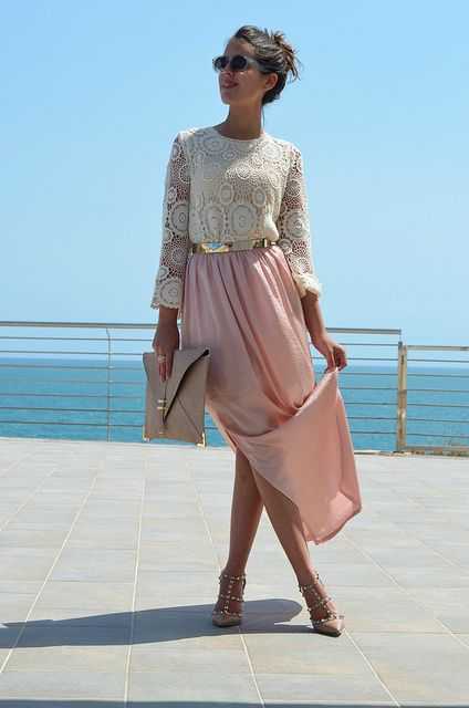 pink skirt  ivory lace blouse and gold belt DSC_0054s | Flickr - Photo Sharing!