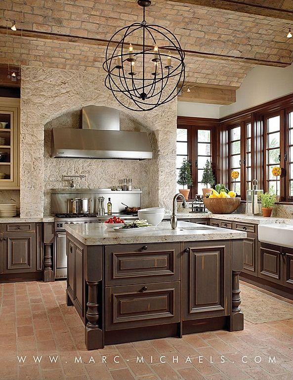 Delightful Modern Kitchen Design With Exposed Brick Wall, Floor And Ceilings, Dark  Wood Island And Marble Counter Tops Design