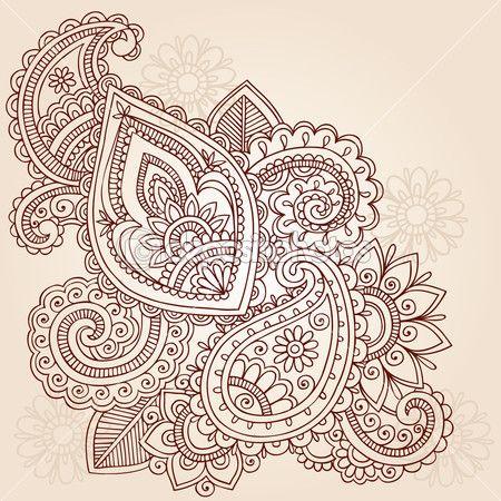 Henna Mehndi Pasiley Doodle Vektor — Stockilllustration #7898830
