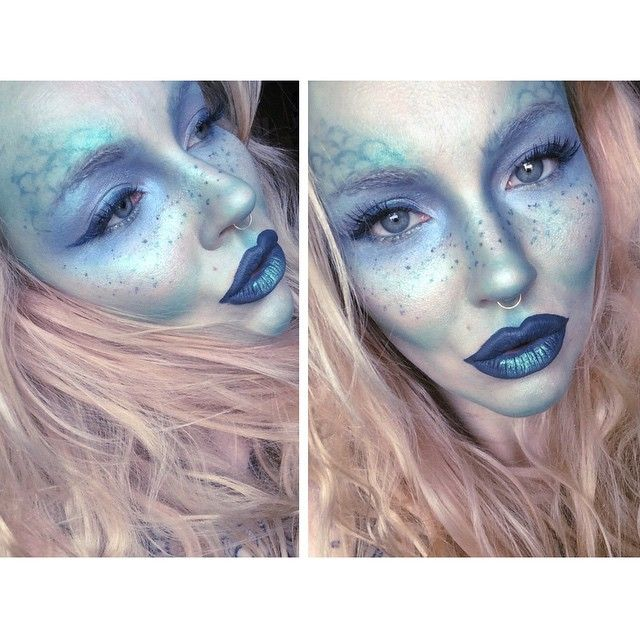 "Instagram media by itslikelymakeup - when you're feeling overwhelmed & have a lot to do, paint your face blue. freckled fish face #nyx prismatic shadow in ""mermaid"" all over my face contoured with #meltcosmetics lipstick in ""blitzed"" freckles, lips & eyeliner are ""vindictive"" liquid lipstick by #lasplash"
