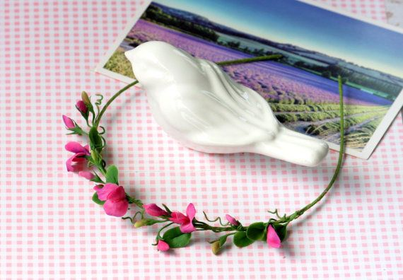 Pink sweet pea headband hair accessory wedding crown Girl flower crown Flower hair wreath Gift for girl