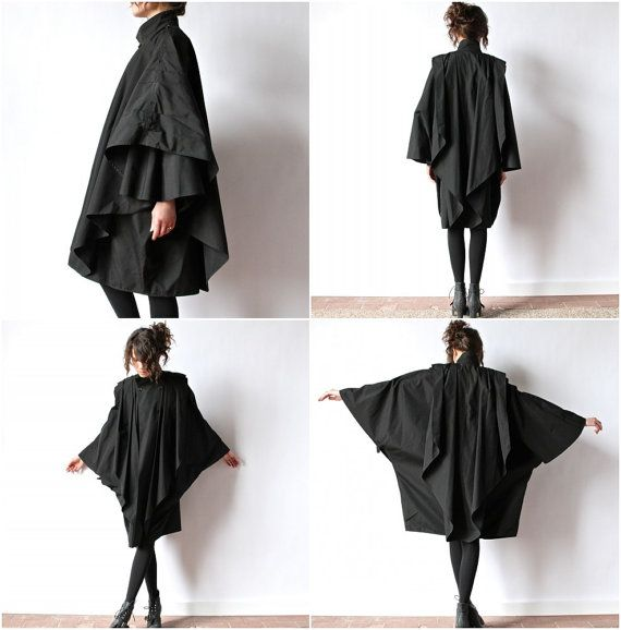 """Black Inverness Cape Coat, Avant Garde Minimalist 80s convertible rain jacket hipster New Wave batwing goth overcoat cloak poncho"" Can't quite explain it, but I like this"