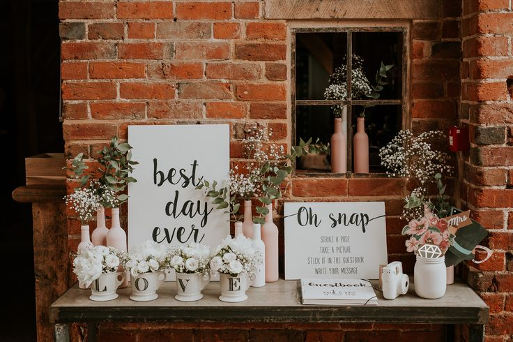 Wedding signs by Painted By Katie - https://www.etsy.com/uk/shop/PaintedbyKatie - Shustoke Farm Barns wedding -- Katie & Ross by D&A Photography, a Contemporary UK & Destination Wedding Photographer