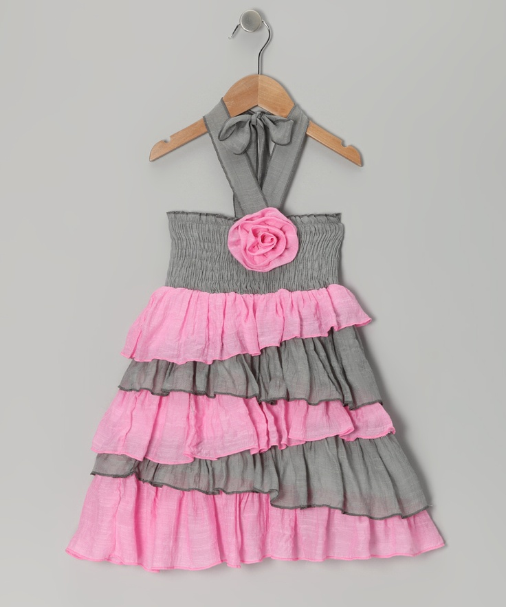 Gray & Pink Rosette Ruffle Dress