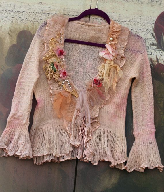 peach mousse cardi  bohemian romantic altered by FleursBoheme
