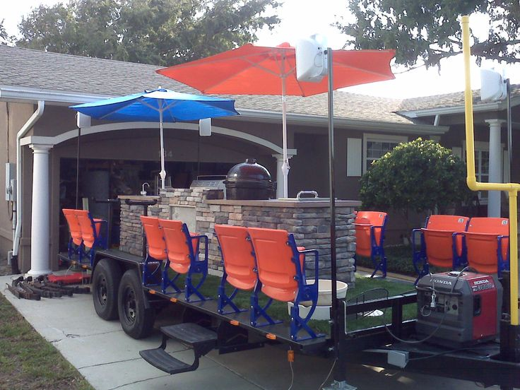 StadiumSeating.net customer: Coolest tailgate trailer ever!  Stadium seats, outdoor kitchen