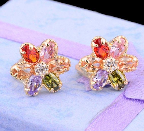 Корейский стиль многоцветный CZ каменный цветок серьга рождественские подарки 14 К позолоченные серьги обруча хрустальные оптовая продажа.