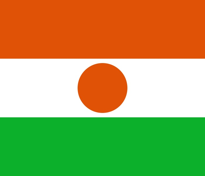 National flag of Niger from http://www.flagsinformation.com/niger-country-flag.html   Three equal horizontal bands of orange (top), white, and green with a small orange disk (representing the sun) centered in the white band; similar to the flag of India, which has a blue spoked wheel centered in the white band.
