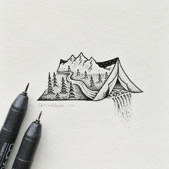 Les minis illustrations noir et blanc de Sam Larson