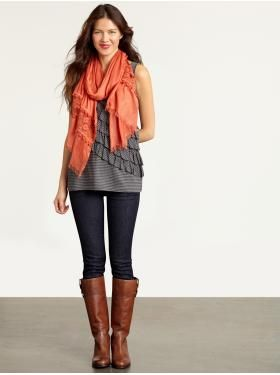 fall fall fall: Scarves And Boots, Skinny Jeans, Color Combos, Tall Boots, Riding Boots, Fall Outfit, Brown Boots, Bananas Republic, Orange Scarf