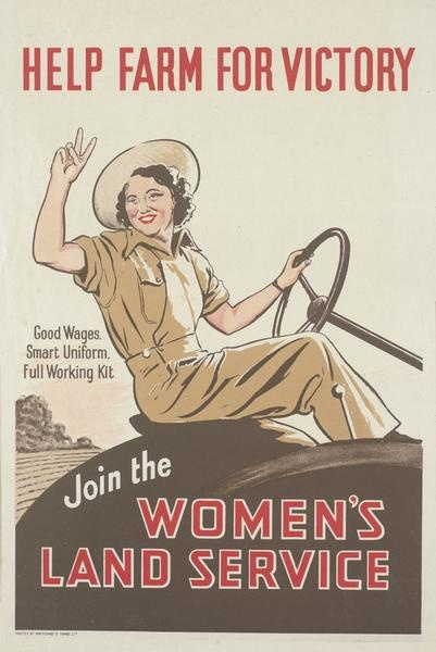 Help farm for victory. Join the Women's Land Service. -- WWII propaganda poster (New Zealand, UK), c. 1939-1945.