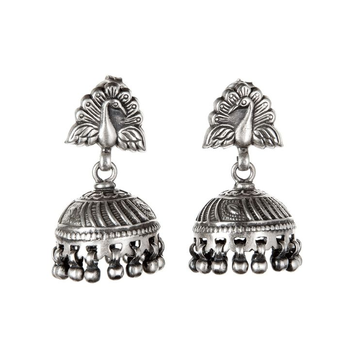 Cercei lungi jhumka cu păuni, argint, India