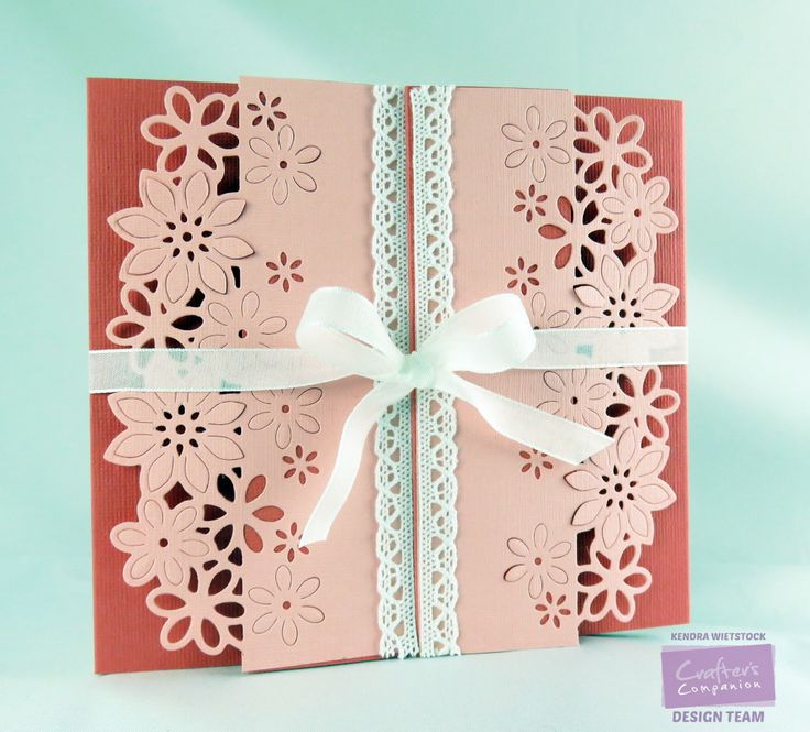 Kendra Wietstock for Crafter's Companion. Die'sire Fancy Edge'Ables - Floral Dance Die'sire Decorative - Chantilly Lace Die'sire Only Words - Thank You Vintage Floral Embossing Folder - Rose Plaid @CraftersCompUS
