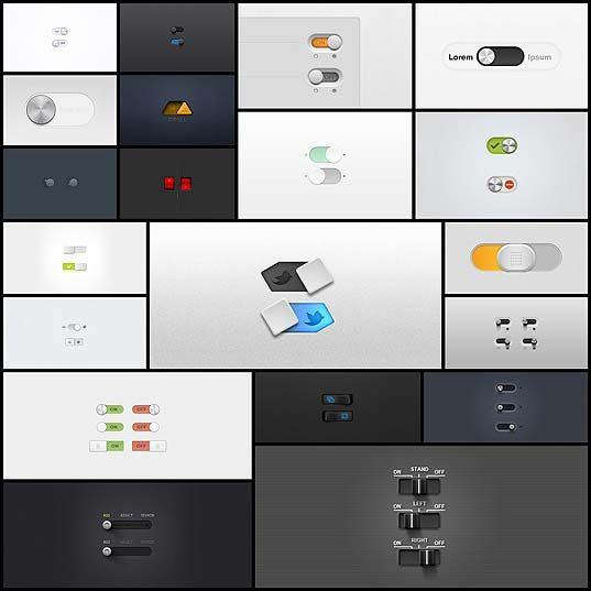 【UIデザイン】ハイクオリティなスイッチ、ボタンデザインPSD 20+20個