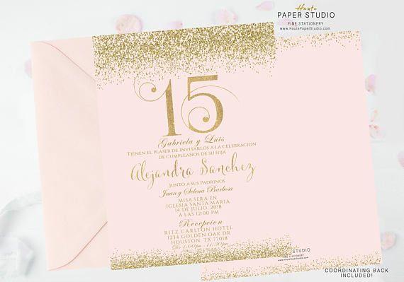 Blush Gold Quinceanera, Sweet 16, Quinceanera Invite, Birthday Invitation, Confetti Birthday, Custom Invitation, Elegant Invitation, BDQ091