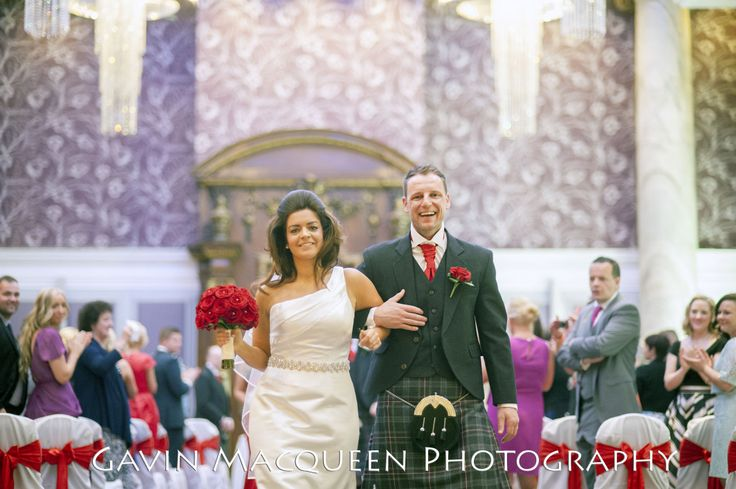 Walking up the aisle in The Grand Central Hotel, Glasgow.