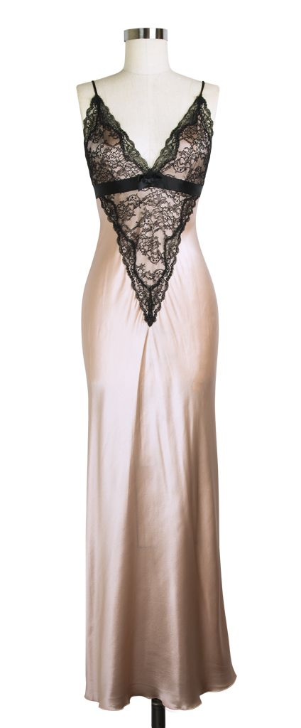 Jane Woolrich Lace Nightgown | Vintage Inspired Night Gown | Pink Black