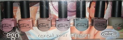 COLOR CLUB NAIL POLISH ~ ALTER EGO REVEAL YOUR MYSTERY ~ 7PC SET; Get A Clue ~ 903;     Revealed ~ 904;     Incognito ~ 905;     Secret Rendezvous ~ 906;     Sheer Disguise ~ 907;     Give Me A Hint ~ 908;     Milky White BaseCoat