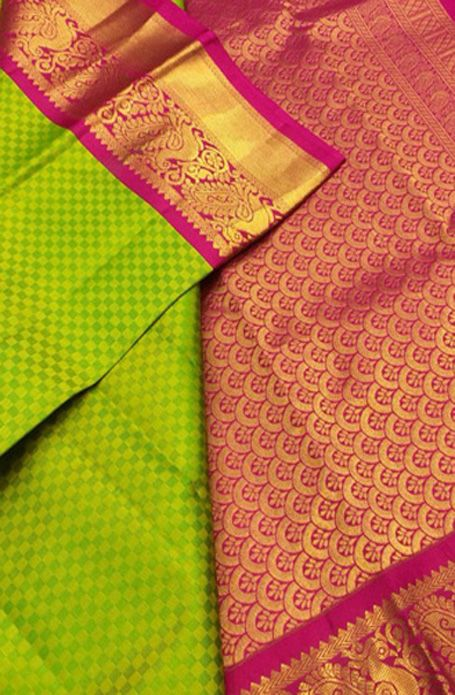 Green Handloom Kanjeevaram Pure Silk Saree 11