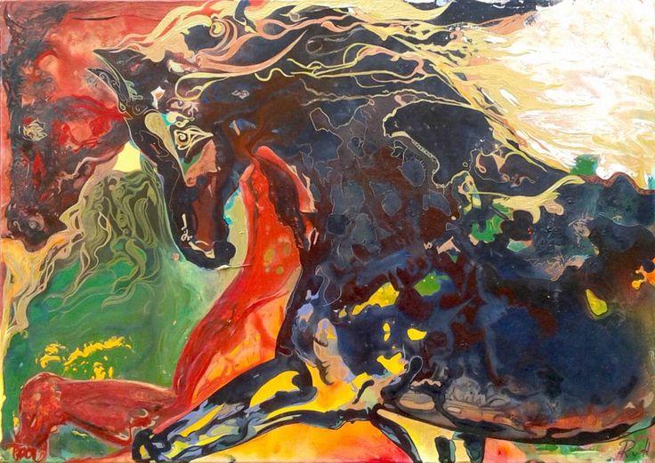 Pferde Schwarz Rot Gold | Künstlerfreunde