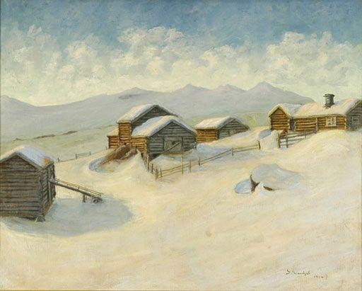 Gustav Wentzel (1859-1927) Winter Landscape in Vågå, 1914